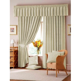 Lana Damask Lined Tape Top Curtains (Pair) - Natural/Cream