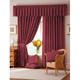 Lana Damask Lined Tape Top Curtains (Pair) - Wine Red
