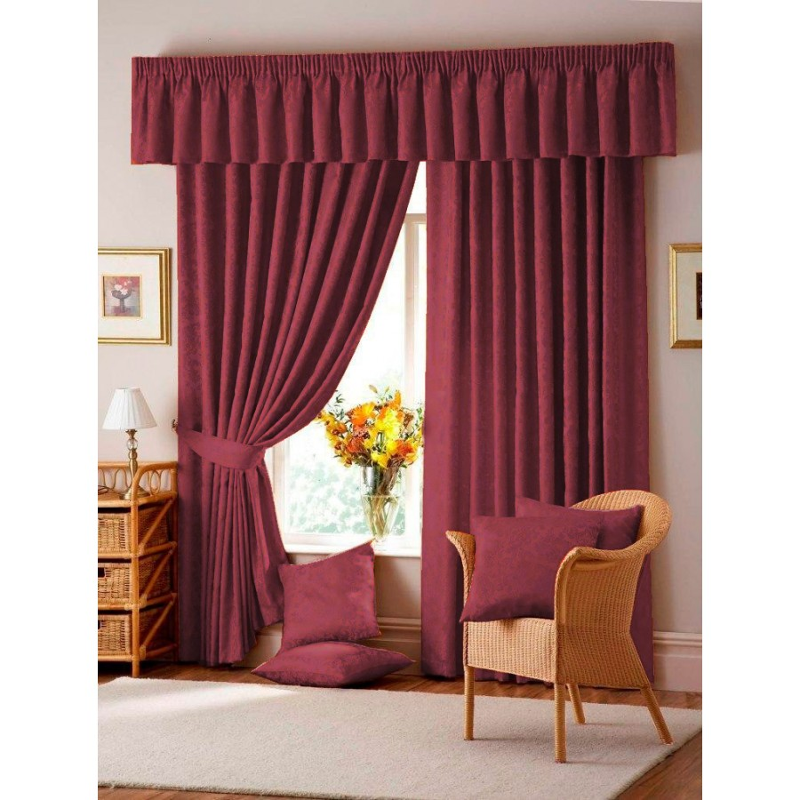 Lana Damask Lined Tape Top Curtains Pair
