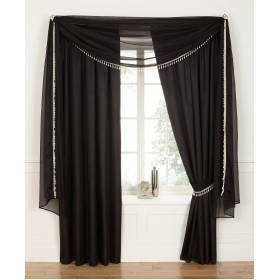 "Voile Lined 3"" Tape Top Curtains - Finished in Black"