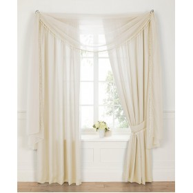 "Voile Lined 3"" Tape Top Curtains - Finished in Cream"