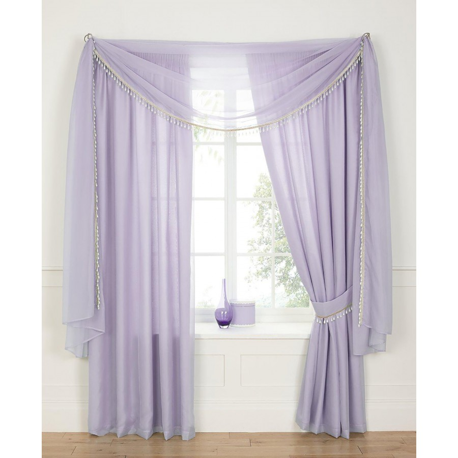 Voile Lined 3 Tape Top Curtains