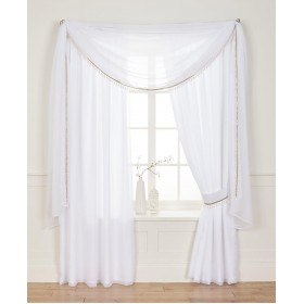 "Voile Lined 3"" Tape Top Curtains - Finished in White"
