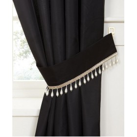 Pearl Voile Tiebacks (Pair) - Finished in Black - Pearl Embellished