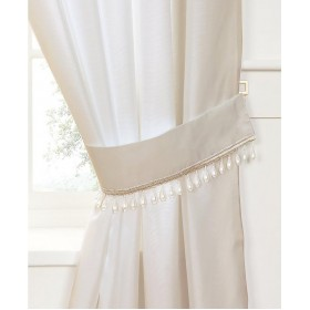 Pearl Voile Tiebacks (Pair) - Finished in Cream - Pearl Embellished