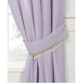 Pearl Voile Tiebacks (Pair) - Finished in Heather/Lilac - Pearl Embellished