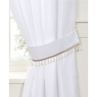 Pearl Voile Tiebacks (Pair) - Finished in White - Pearl Embellished