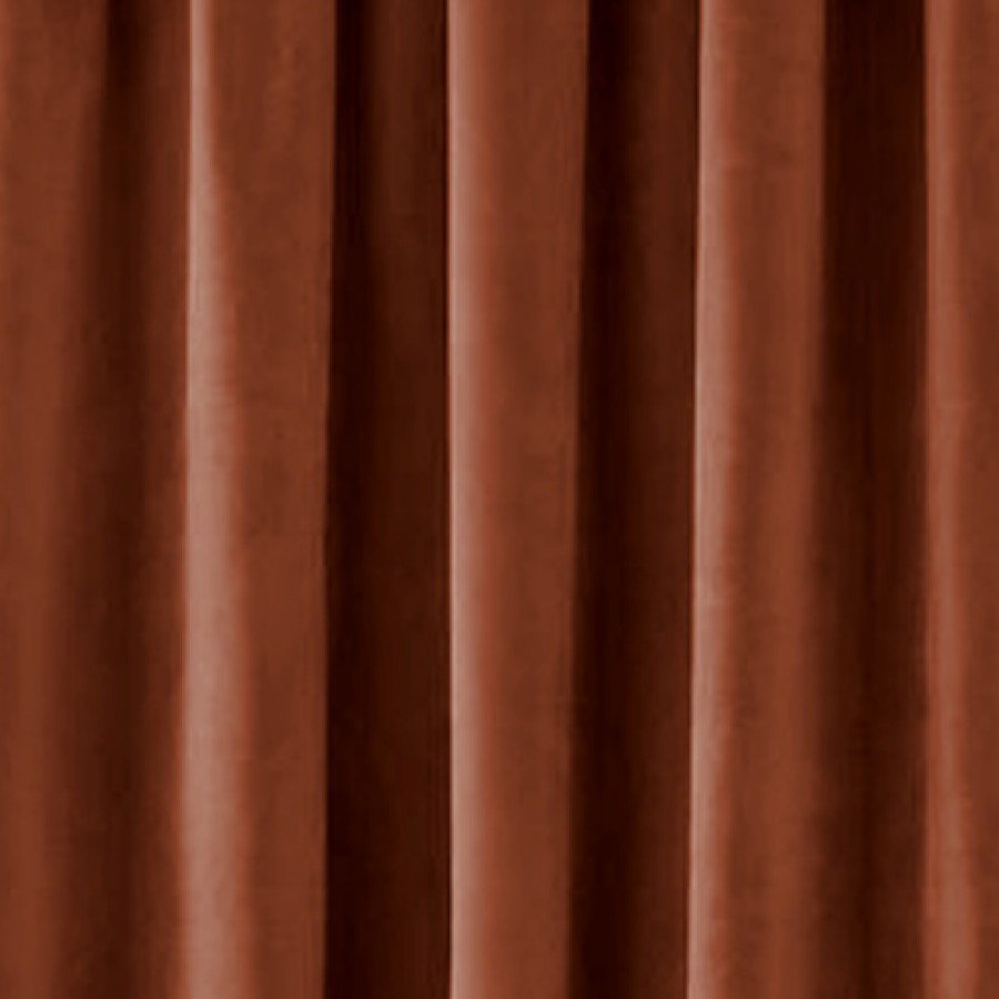 Thermal velour velvet tape top curtains finished in terracotta