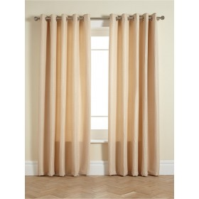 Waffle Lined Ring Top/Eyelet Curtains (Pair) Available in Cream