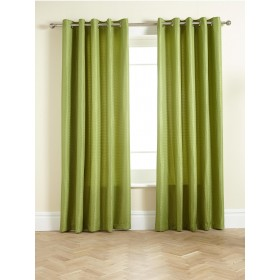 Waffle Lined Ring Top/Eyelet Curtains (Pair) Available in Olive
