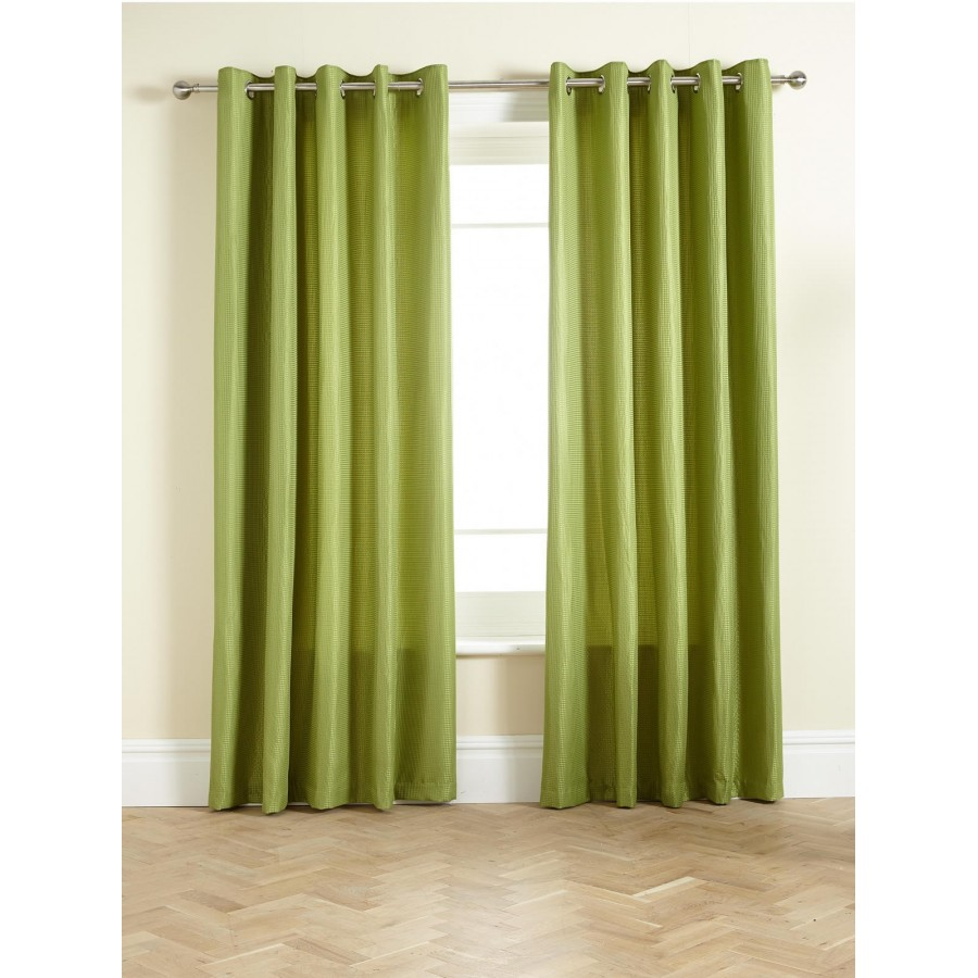 Waffle Lined Ring Top Eyelet Curtains Pair Available In Olive