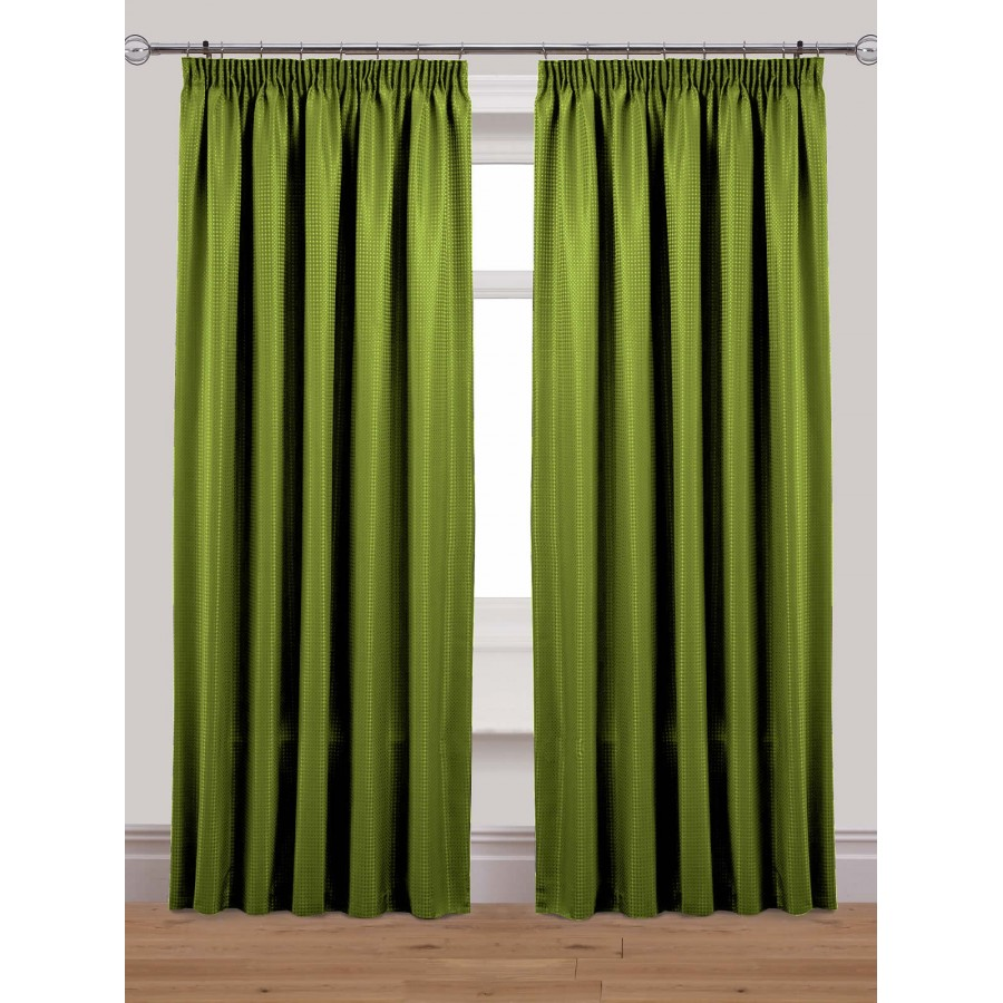 Waffle Lined Tape Top Pencil Pleat Curtains Pair Available In Olive