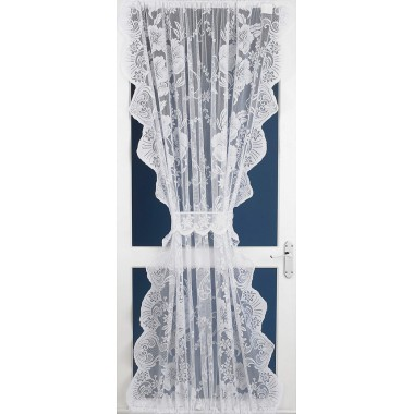 Roma Lace Net Curtain Door Panel In White - 54