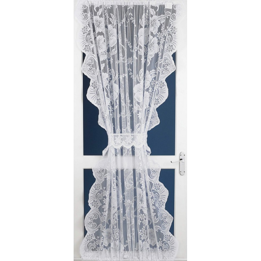 Roma Lace Net Curtain Door Panel In White