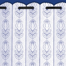 Tulip Lace Net Curtain Louvre Blind Finished in White