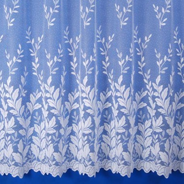 Autumn Leaves Net Curtain in White - Sold By The Metre