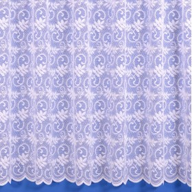 Fiona Scrolling Leaf Net Curtain - Sold By The Metre - Available in White