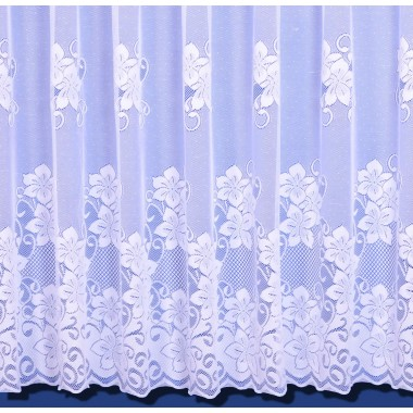 Heidi Floral Heavyweight Net Curtain In White - Sold By The Metre