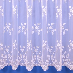 Kate Floral Net Curtain in White - Sold By The Metre