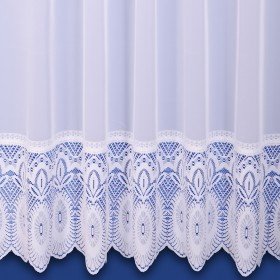Lilian Lace Base Net Curtain in White - Sold By The Metre