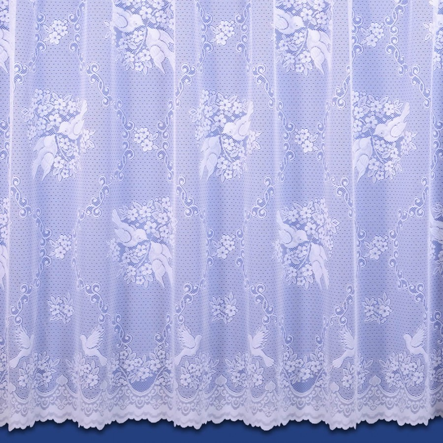love birds voile net curtain in white sold by the metre
