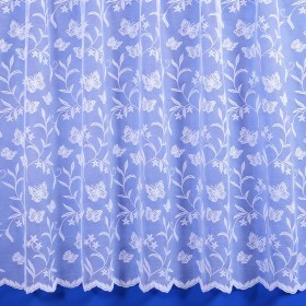 Meadow Butterfly Net Curtain in White - Sold By The Metre