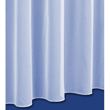 Sue Plain Net Curtain in White - Lead Weighted Bottom - Sold By The Metre