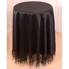 Round Macrame Fringed Tablecloth in Black - 180cm Diameter