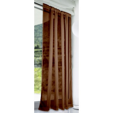 Slot Top Voile Panels (Pair) - Finished In Chocolate Brown