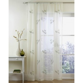 Swallow Slot Top Embroided Voile Panels (Pairs) - Green