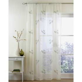 Swallow Slot Top Embroided Voile Panels (Pairs) - Natural