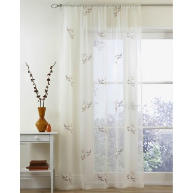 Swallow Slot Top Embroided Voile Panels (Pairs) - Terracotta
