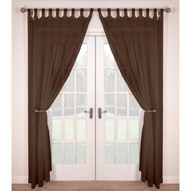 Tab Top Voile Panels (Pair) - Finished In Brown
