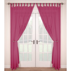 Tab Top Voile Panels (Pair) - Finished In Cerise