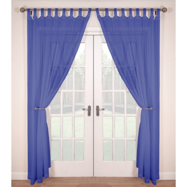 Tab Top Voile Panels (Pair) - Finished In Cornflower Blue