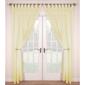 Tab Top Voile Panels (Pair) - Finished In Dark Cream