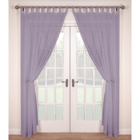 Tab Top Voile Panels (Pair) - Finished In Lavender