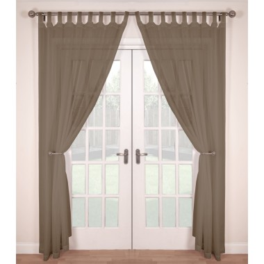 Tab Top Voile Panels (Pair) - Finished In Mocha