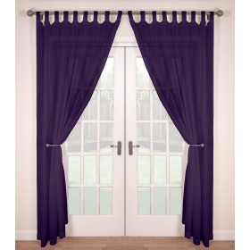 Tab Top Voile Panels (Pair) - Finished In Purple