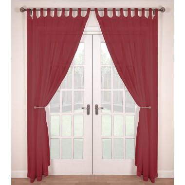 Tab Top Voile Panels (Pair) - Finished In Red