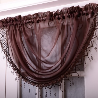 Voile Swags With Macrame Fringing - Finished In Brown