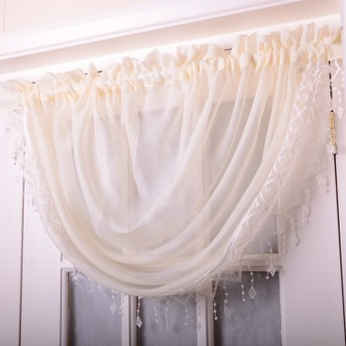 Voile Swags With Macrame Fringing - Finished In Cream