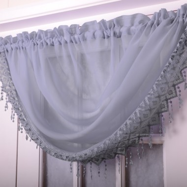 Voile Swags With Macrame Fringing - Finished In Lilac