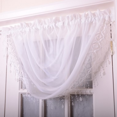 Voile Swags With Macrame Fringing - Finished In White