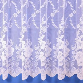 Roma Floral Net Curtain in White - Sold By The Metre