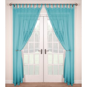 Tab Top Voile Panels (Pair) - Finished In Soft Teal